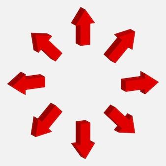 Vetor de sinal de seta 3d. símbolo para a direita, para baixo, para cima e para baixo. coleção de ponteiro vermelho.