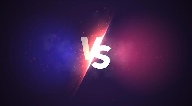 Vetor de sinal vs versus fundo com luz brilhante