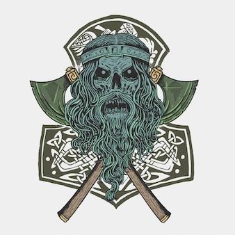 Vetor de soldado de crânio viking