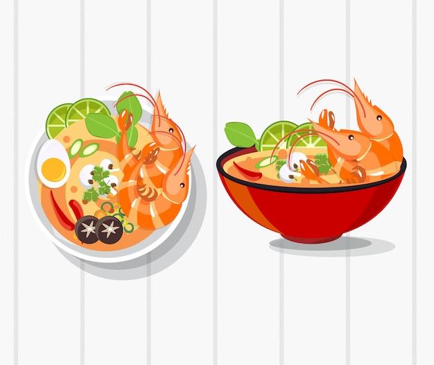Vetor de sopa picante de tom yum kung thai, comida tailandesa