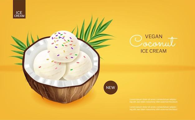 Vetor de sorvete de coco realista. posicionamento de produto. sobremesas deliciosas saudáveis