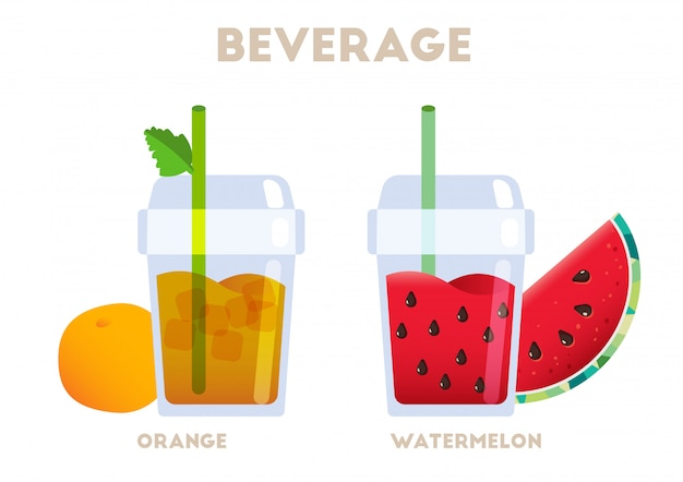 Vetor de suculenta laranja e melancia de bebida