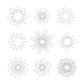 Vetor de sunburst definido em branco