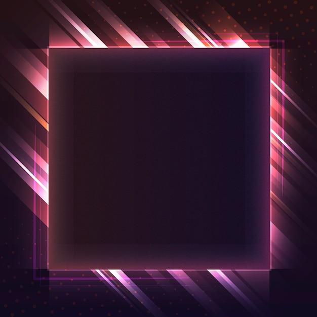 Vetor de tabuleta de néon quadrado vermelho em branco
