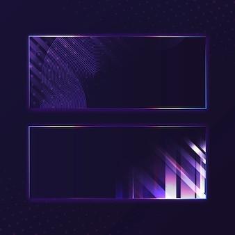 Vetor de tabuleta de néon violeta retângulo roxo em branco