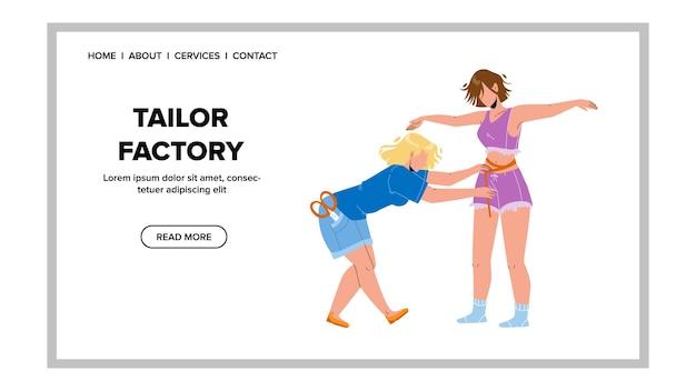 Vetor de tamanhos de modelo de medição de trabalhador de fábrica de alfaiate. funcionária de fábrica de alfaiate de costureira faz a medição de uma jovem para costurar roupas de vestido de moda. personagens web flat cartoon ilustração