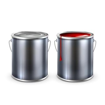 Vetor de tampa de baldes abertos e fechados de tinta em branco