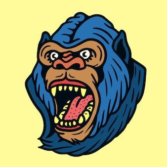 Vetor de tatuagem de velha escola gorila com raiva