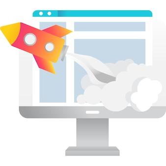 Vetor de tecnologia da web de ícone de inicialização de negócios online