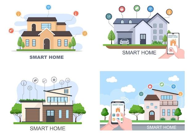 Vetor de tecnologia de casa inteligente