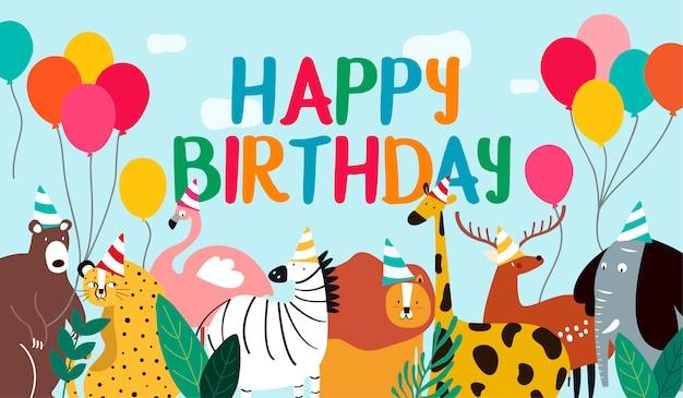 Vetor de tema animal de cartão de feliz aniversário