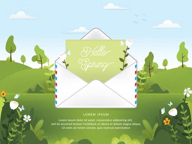 Vetor de temporada de primavera com e-mail