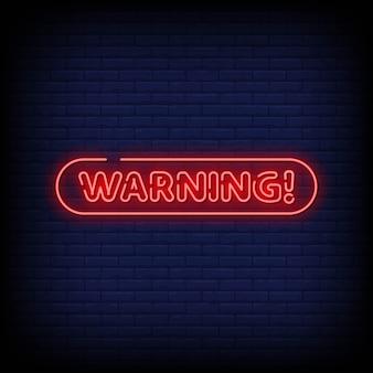 Vetor de texto de estilo de aviso de sinais de néon