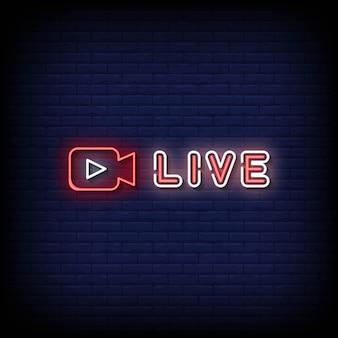 Vetor de texto de estilo de letreiros de néon ao vivo