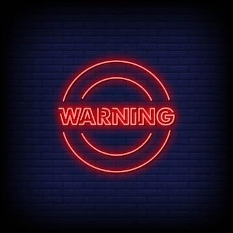 Vetor de texto de estilo de sinais de néon de aviso