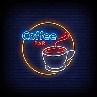 Vetor de texto de estilo de sinais de néon de barra de café