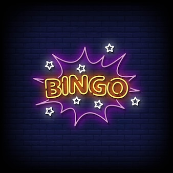 Vetor de texto de estilo de sinais de néon de bingo