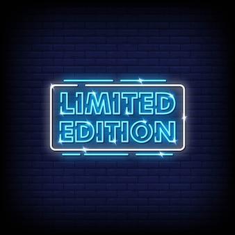 Vetor de texto de estilo de sinais de néon de edição limitada