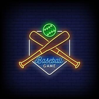 Vetor de texto de estilo de sinais de néon de jogo de beisebol