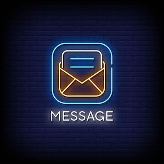 Vetor de texto de estilo de sinais de néon de mensagem