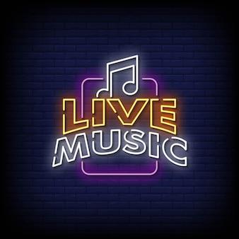 Vetor de texto de estilo de sinais de néon de música ao vivo