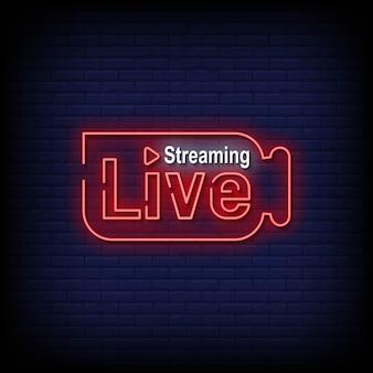 Vetor de texto de estilo de sinais de néon de transmissão ao vivo