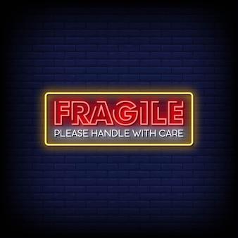 Vetor de texto de estilo de sinais de néon frágil
