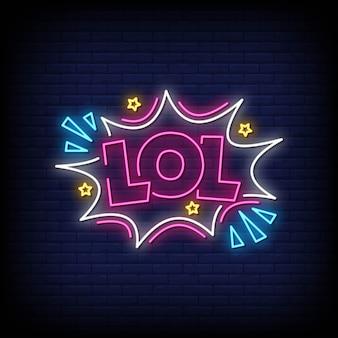 Vetor de texto de estilo de sinais de néon lol