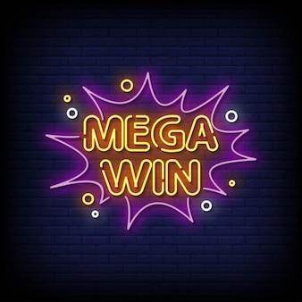 Vetor de texto de estilo de sinais de néon mega win