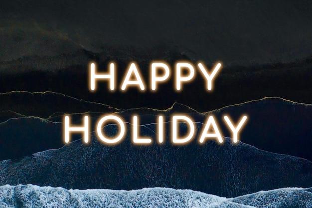 Vetor de texto de néon de feliz feriado Vetor grátis