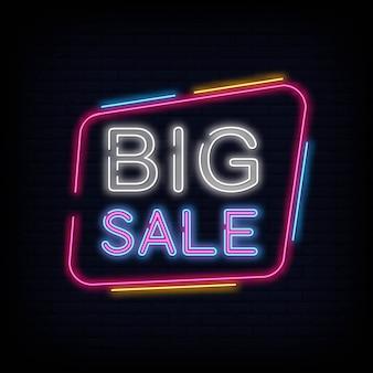 Vetor de texto de sinal de néon grande venda