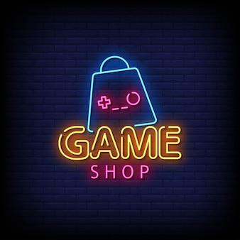 Vetor de texto do estilo dos sinais de néon da loja de jogos