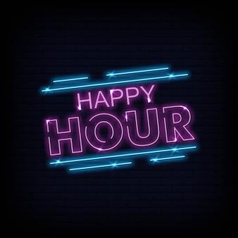Vetor de texto néon de happy hour