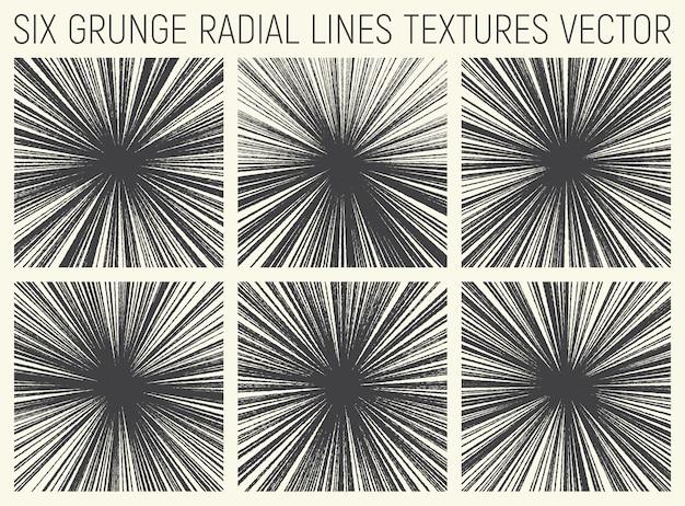 Vetor de texturas de linhas radiais de grunge