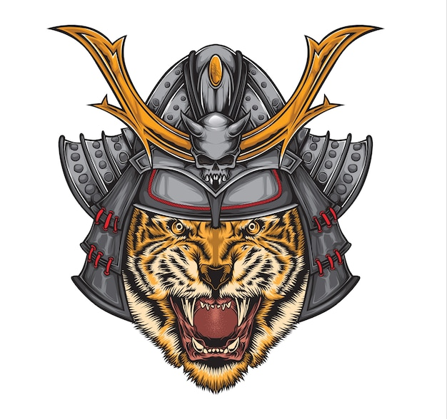 Vetor de tigre de samurai