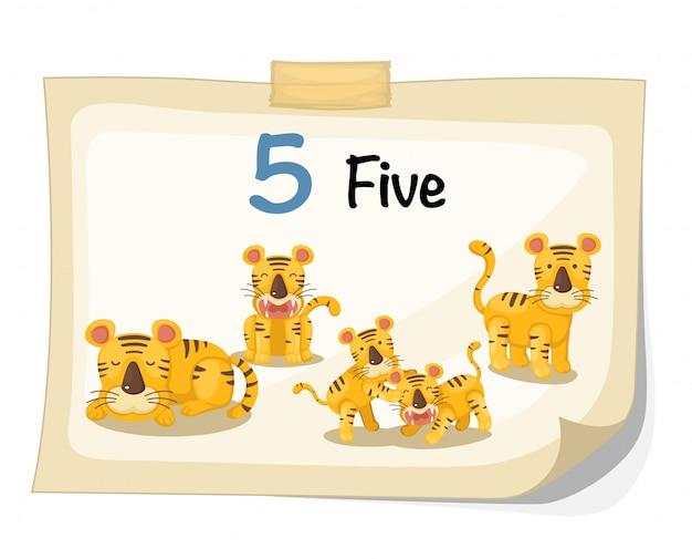 Vetor de tigre número cinco