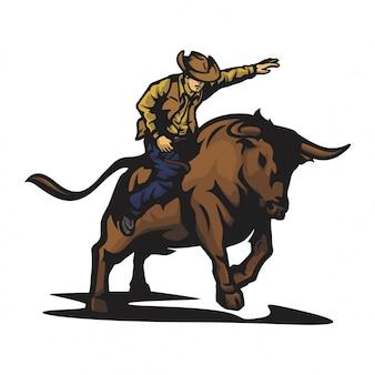 Vetor de touro de rodeio