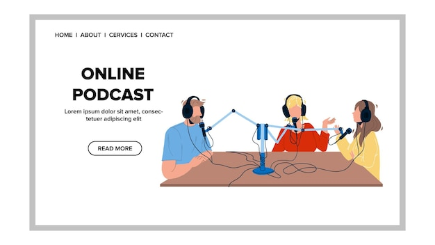Vetor de trabalhadores de rádio de gravação de podcast online. jornalistas entrevistando convidados, mass media broadcasting business. personagens se comunicando e transmitindo ilustração plana dos desenhos animados da web