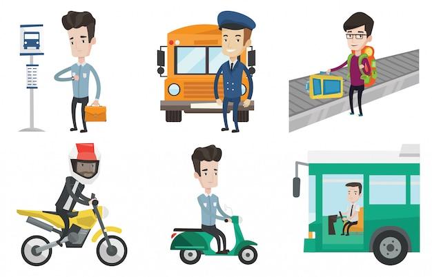 Vetor de transporte definido com pessoas viajando.