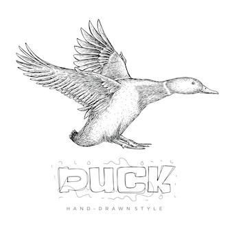 Vetor de um pato voador, ilustração animal desenhada à mão