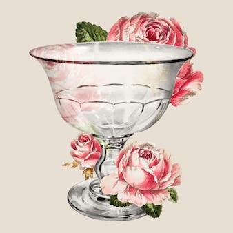 Vetor de uma taça vintage decorada com ilustração de flores, remixada da obra de arte de john tarantino