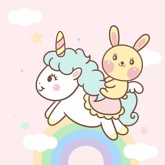 Vetor de unicórnio bonito e coelho dos desenhos animados no arco-íris