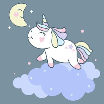 Vetor de unicórnio bonito na nuvem e lua dos desenhos animados