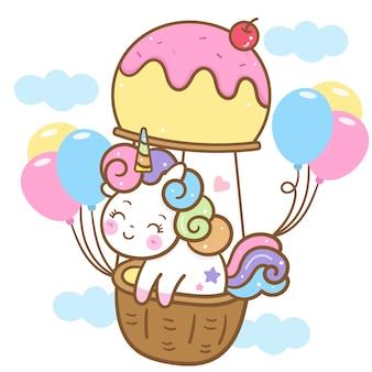 Vetor de unicórnio bonito no balão de sorvete