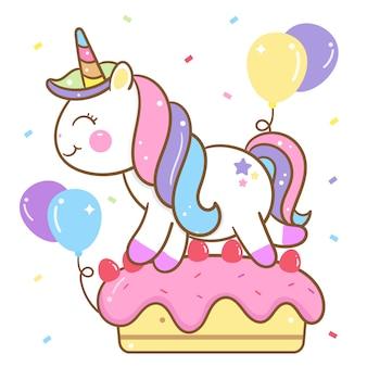 Vetor de unicórnio bonito no bolo de aniversário