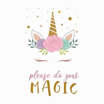 Vetor de unicórnio mágico kawaii bonito