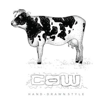 Vetor de vacas na grama, ilustração animal desenhada à mão