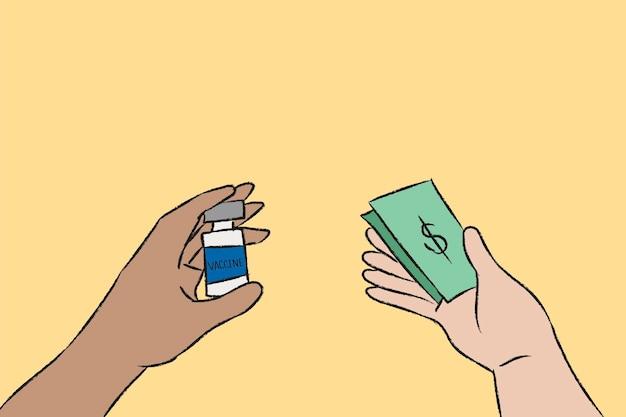 Vetor de vacinação de mão desenhada, conceito de big pharma