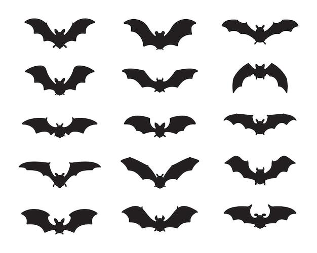 Vetor de vampiro de morcego. silhueta de morcego fantasma assustador voando para sugar sangue no halloween.