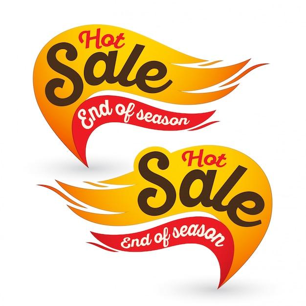 Vetor de venda de fogo quente rotula modelos de adesivos